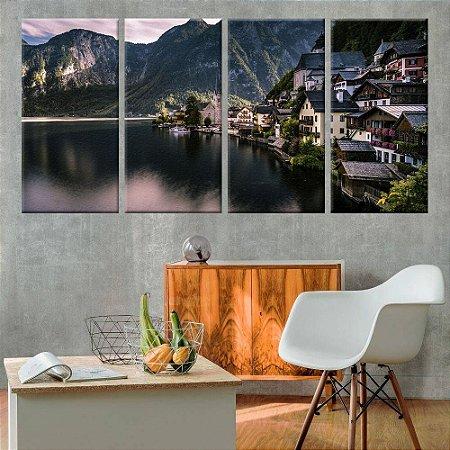 Quadro Panorâmico Austria 02  212x100cm   4 Telas de Tecido