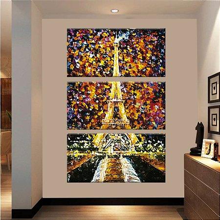 Quadro Torre Eiffel Pintura Vertical 3 Telas Decorativas