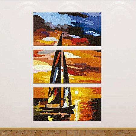 Quadro Veleiro 01 Pintura Vertical 3 Telas Decorativas