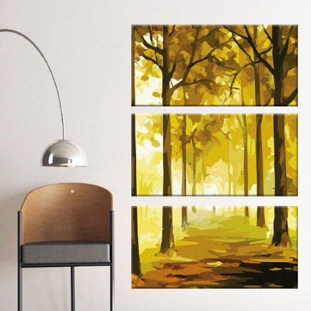 Quadro Floresta Pintura Vertical 3 Telas Decorativas