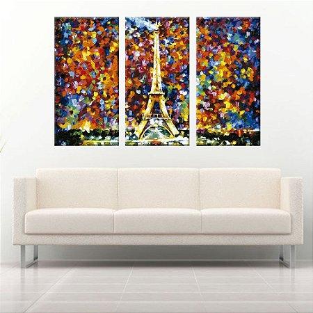 Quadro Torre Eiffel Colorida 3 Telas Decorativas