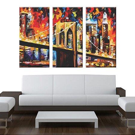 Quadro Ponte Brooklyn Briget Pintura 3 Telas Decorativas