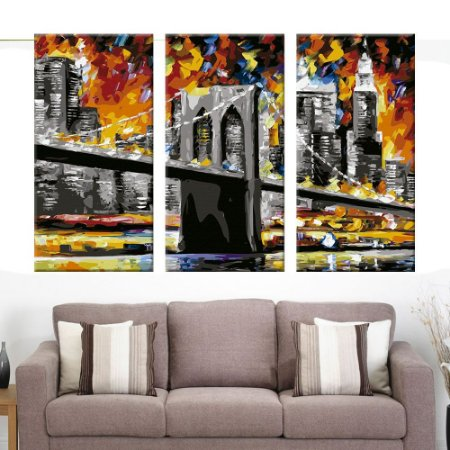 Quadro Ponte Brooklyn Art Decor 3 Telas Decorativas