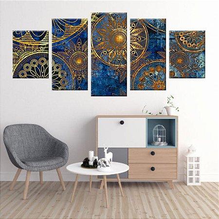 Conjunto 5 Quadros Tela Decorativa Vitral Mandala