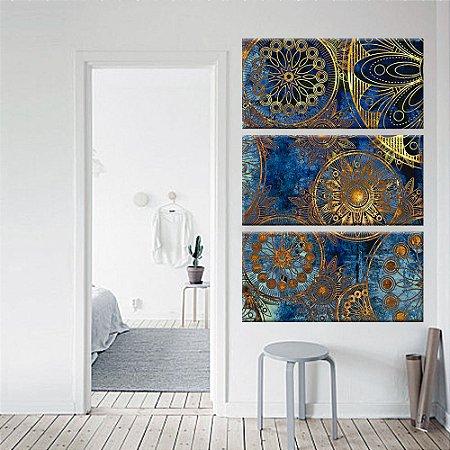 Quadro Vitral Mandalas Vertical 3 Telas Decorativas