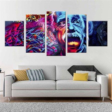 Conjunto 5 Quadros Tela Decorativa Einstein Graffiti