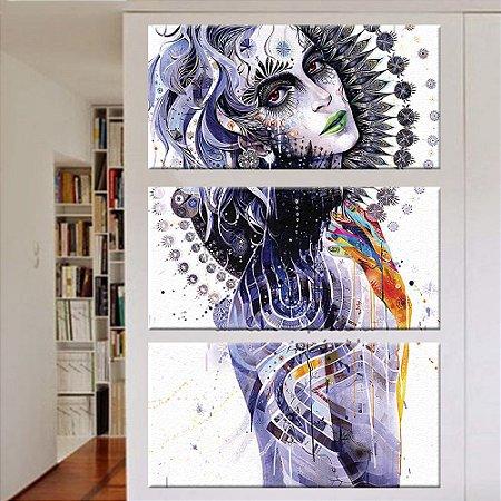 Quadro Mulher Face Vertical 3 Telas Decorativas
