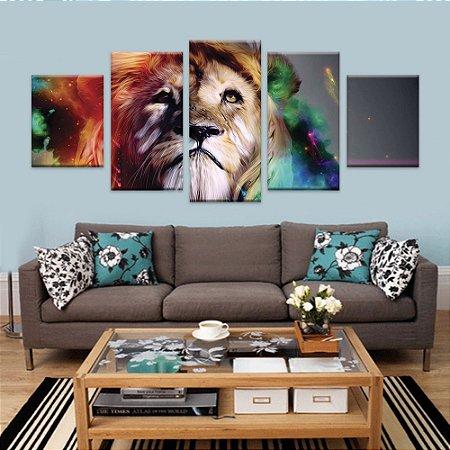 Quadros Leão Cores 5 telas decorativas