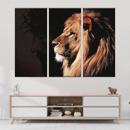 Quadro Leão & Cristo 3 Telas Decorativas
