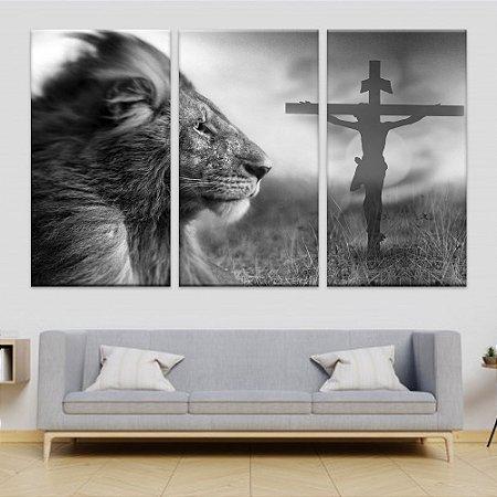 Quadro Cristo Leão 3 Telas Decorativas