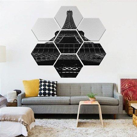 Quadro Torre Eiffel Conjunto 7 Telas Decorativas Hexagonal