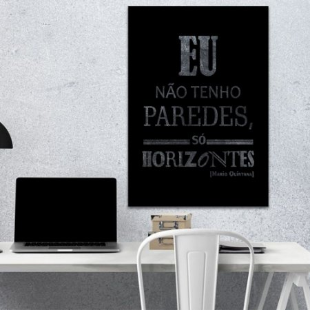Placa Decorativa Eu não tenho Paredes - Mario Quintana (AL) 30X40CM
