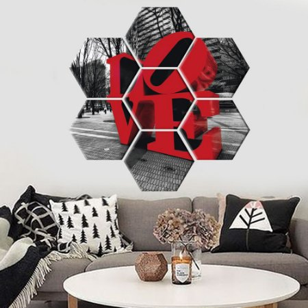 Quadro Love Conjunto 7 Telas Decorativas Hexagonal