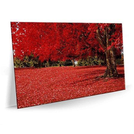 Quadro Bosque Vermelho Tela Decorativa