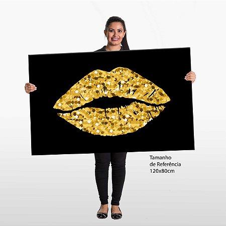 Quadro Beijo Dourado Tela Decorativa