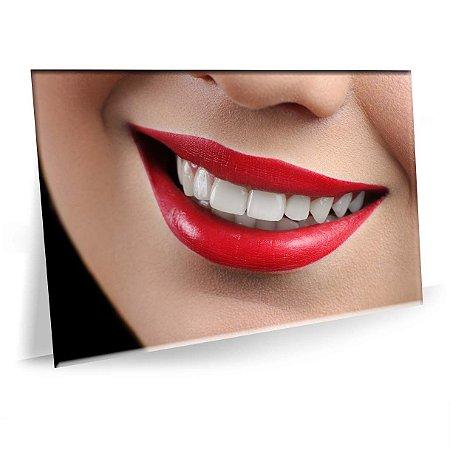 Quadro Beleza Sorriso Batom Vermelho Tela Decorativa