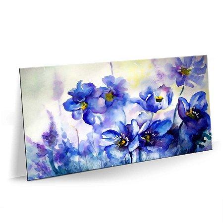 Quadro Flores Azuis Tela Decorativa