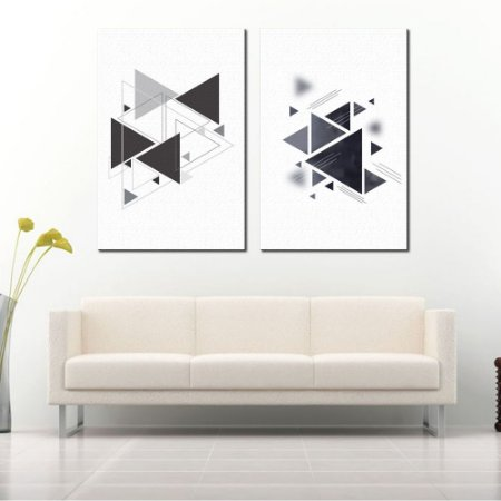 Dupla de Telas Decorativa Triângulos Preto e Cinza