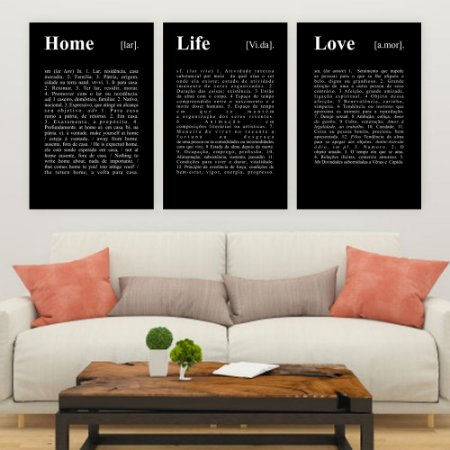 Trio de Telas Decorativa Home Life Love