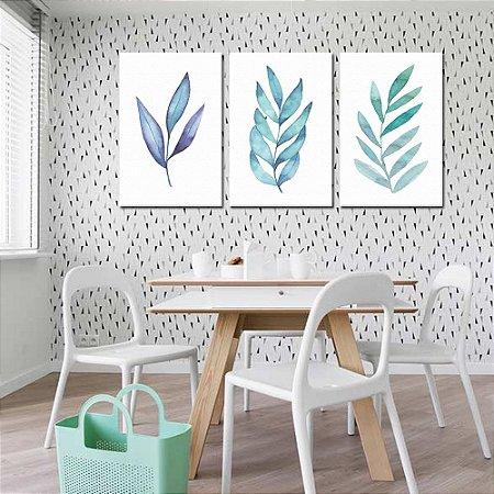 Trio de Telas Decorativa Folhas Azuis