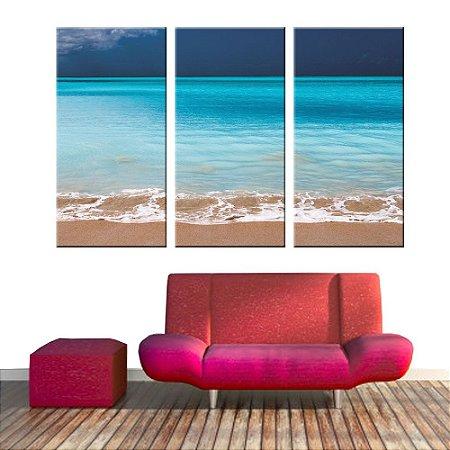 Conjunto 3 Tela Decorativa Praia Infinita