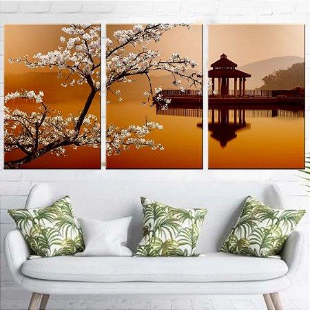 Conjunto 3 Tela Decorativa Paisagem Japão