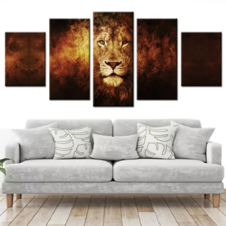 Conjunto 5 Quadros Canvas Leão em Chamas