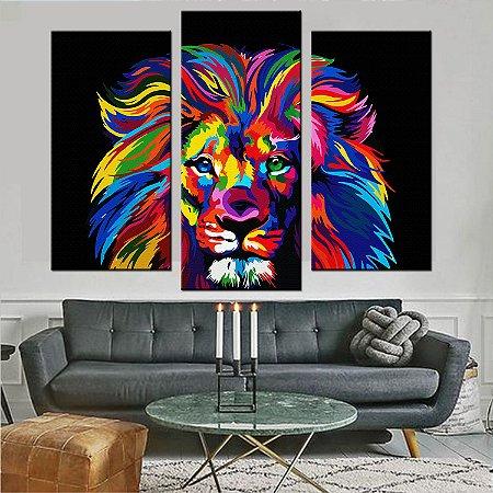 Quadro Mosaico 3 Telas Leão Rei Colorido