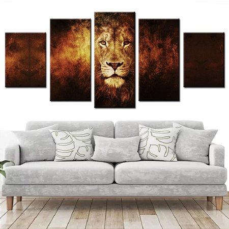 Quadro Leão em Chamas 5 Peças Mosaico