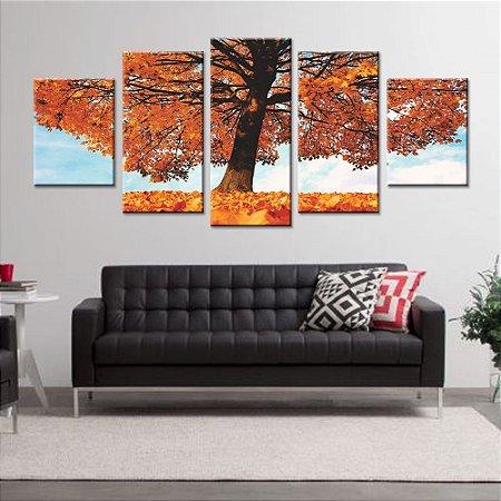 Quadro Arvore Outono 5 Peças Mosaico