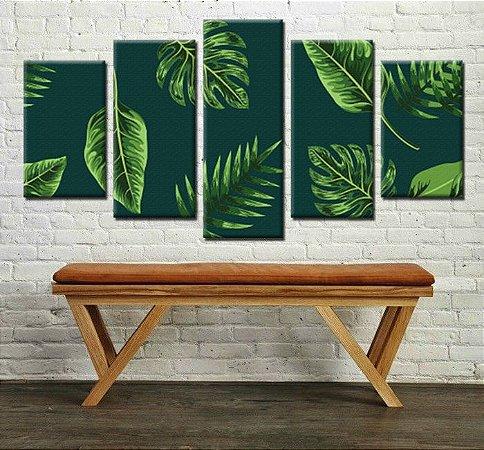 Quadro Floral Folhas Verdes 5 Peças Mosaico