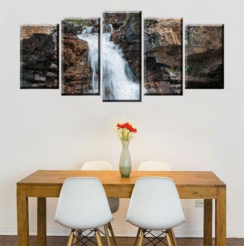 Quadro Cachoeira Natureza 5 Peças