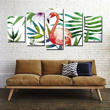 Quadro Floral Flamingo 5 Peças