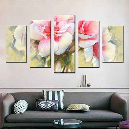 Quadro Flores Pintura 5 Peças
