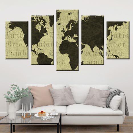 Quadro Abstrato Mapa Mundi Conjunto 5 Peças