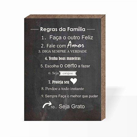 Quadro Regras da Família [Box em MDF]