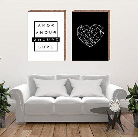 Dupla Quadros Decorativos Amore [Box em MDF]