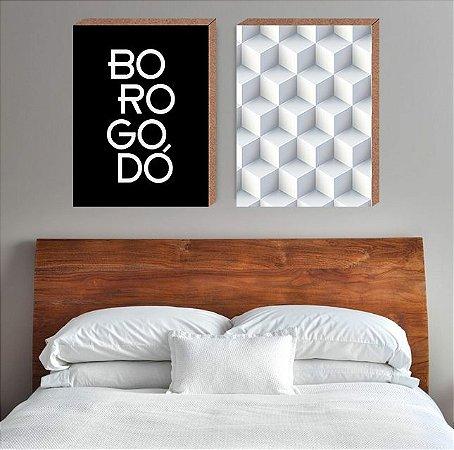 Dupla Quadros Decorativos Borogodó + 3D [Box em MDF]