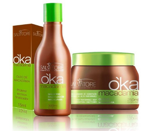 Salvatore Oka Macadâmia Kit Completo - 3 Produtos (Condiciondor 250ml + Shampoo 300ml + Óleo 15ml)