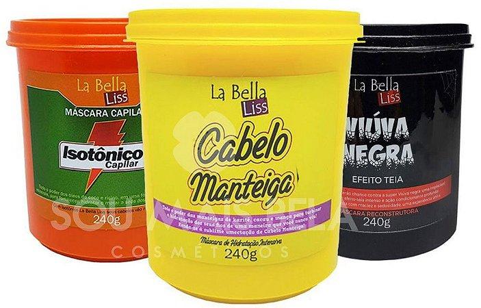 Cronograma Capilar no Chuveiro La Bella Liss (Cabelo Manteiga, Isotônico e Viúva Negra 240g Cada)
