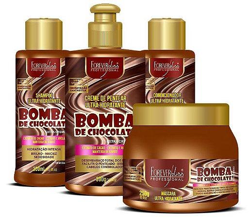 Bomba de Chocolate Kit Shampoo 300ml + Condicionador 300ml + Máscara 250g + Creme de Pentear 300g Forever Liss (4 Produtos)