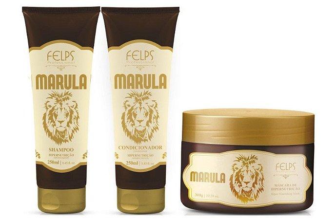 Felps Marula Kit de Hipernutrição - 3 Produtos (Shampoo 250ml + Condicionador 250ml + Máscara 300g)