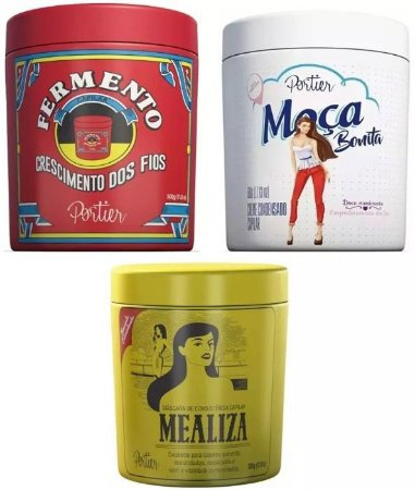 Portier Gourmet Kit Moça Bonita + Mealiza + Fermento Capilar (3 Produtos) - 3x500g