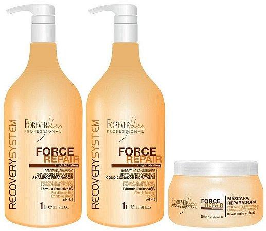 Kit Force Repair - Shampoo + Condicionador + Máscara - 3 Produtos Forever Liss