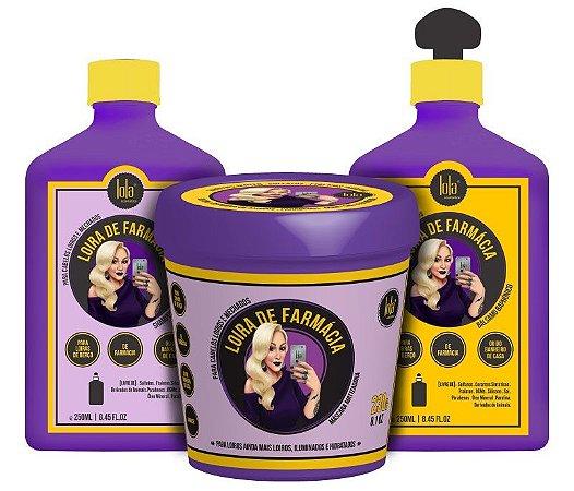 Kit Loira de Farmácia Lola - Shampoo Matizador + Máscara Matizadora + Bálsamo Baphônico (3 Produtos)