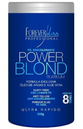 Power Blond Platinum Pó Descolorante Azul Forever Liss - 450g