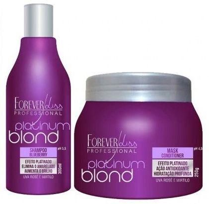 Kit Manutenção Matizador de Loiros Platinum Blond Forever Liss - 2 Produtos (Shampoo 300ml + Máscara 250g)