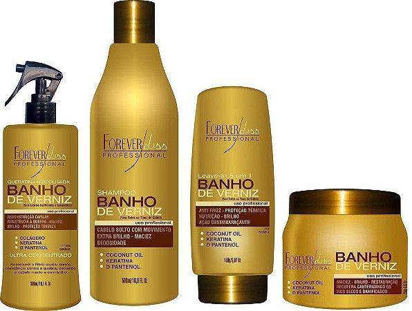 Kit Banho de Verniz Reconstrução de Brilho Forever Liss - Queratina 300ml + Shampoo 500ml + Leave-in 150g + Banho de Verniz 250g (4 produtos)