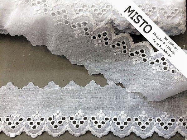 Tira Bordada 6,60 cm - MISTO - cerca de 92% algodão e 8% poliéster   Peça com 7,20m