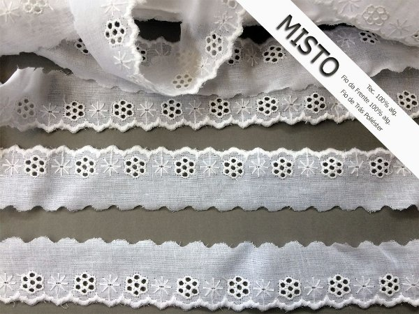Tira Bordada 3,60 cm - MISTO - cerca de 92% algodão e 8% poliéster | Peça com 7,20m